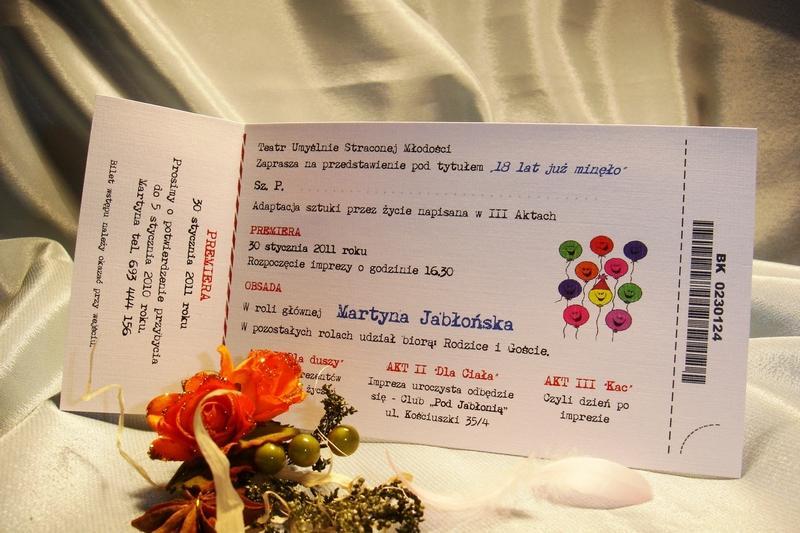 Zaproszenia Urodzinowe 18 Lat Bilet Na Urodziny 20 30 40 50 Wezwanie