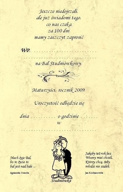 Zaproszenia Studniówkowe Na Studniówkę I Bal Gimnazjalny