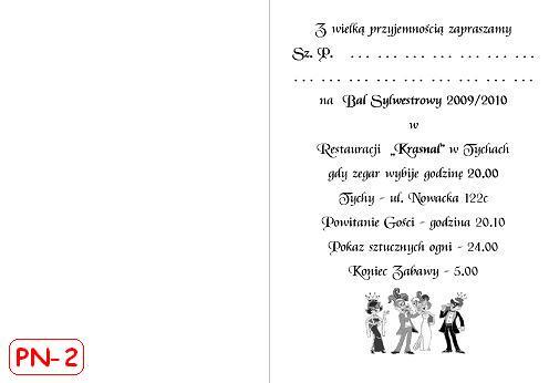 Sylwestra Zaproszenie Na Bal Sylwestrowy Składane Pionowo Nr 1