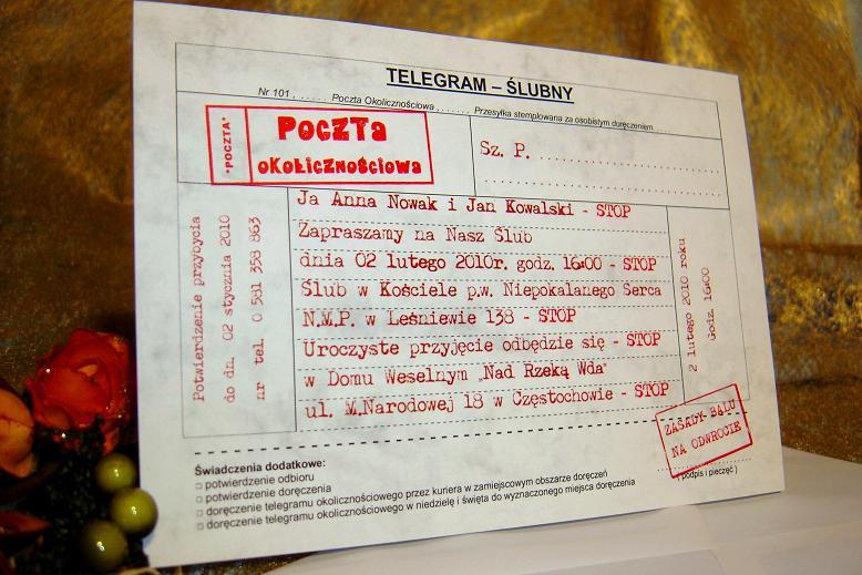 Telegram ślubny Zaproszenia Na ślub Wesele Nr1 Zaproszenia