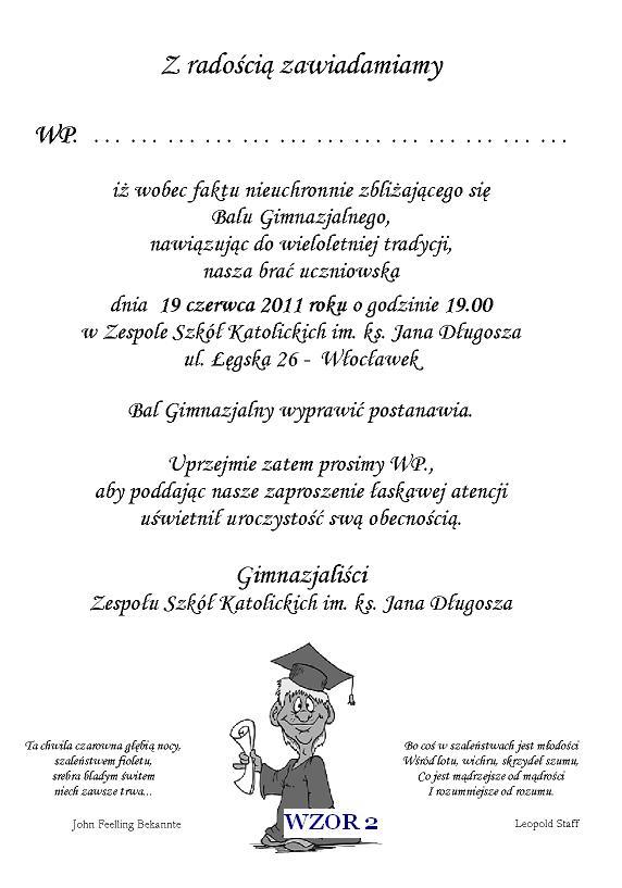 Zaproszenie Na Bal Gimnazjalny Szóstoklasistów I Inne Nr 2