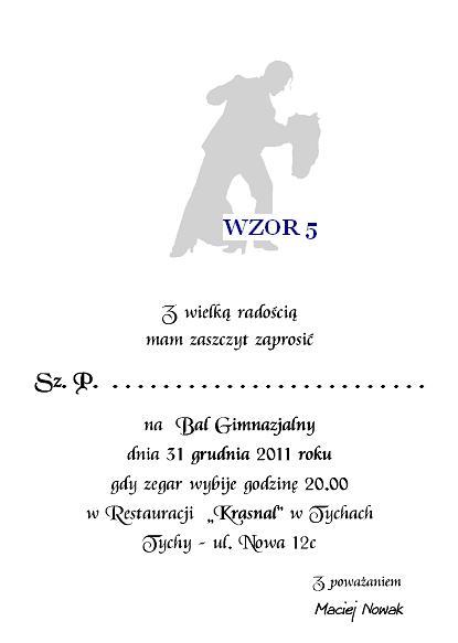 Zaproszenie Na Bal Gimnazjalny Szóstoklasistów I Inne Nr 5