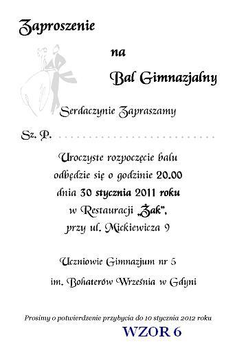 Zaproszenie Na Bal Gimnazjalny Szóstoklasistów I Inne Nr 6