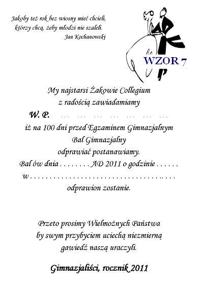 Zaproszenie Na Bal Gimnazjalny Szóstoklasistów I Inne Nr 7