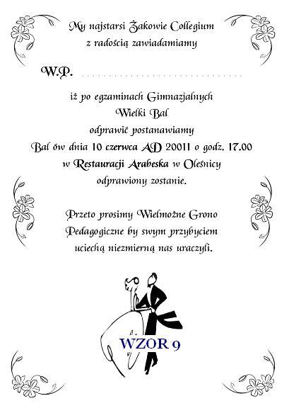 Zaproszenie Na Bal Gimnazjalny Szóstoklasistów I Inne Nr 9